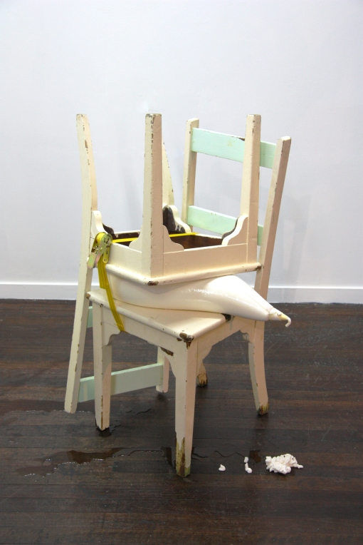 Piping. Two chairs, piping bag full of mock cream, ratchet strap. 100x 40x40cm.