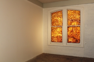 Blockage. Licorice on window.