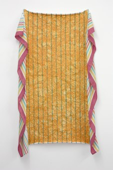 Untitled (cheese tablecloth). 80x180cm, cheese slices squished with fingers on tablecloth.