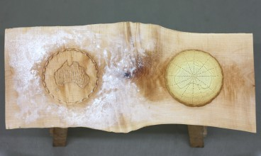 Untitled (shortbread mould). 90x40x10cm. Hand carved acorn cookie mould and basic shortbread (shortbread is replaced when eaten)