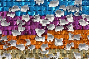 Afternoon pick-me-up. Icekonfekt chocolates in wrappers, glue. 350x100x.5cm
