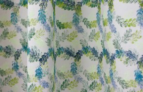 Acanthus (after William Morris). Fabric printed with acrylics and ButterBlatter (butter leaf) biscuits. 300x120cm.
