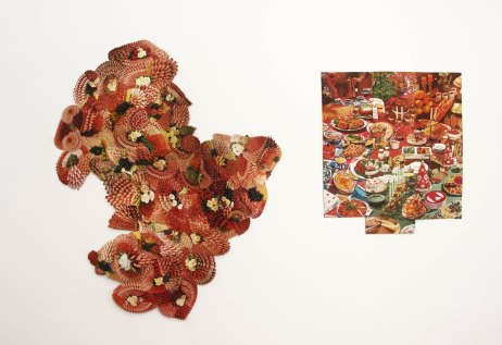 Meat platter and Banquet (December) collages. Install photograph from Between Courses