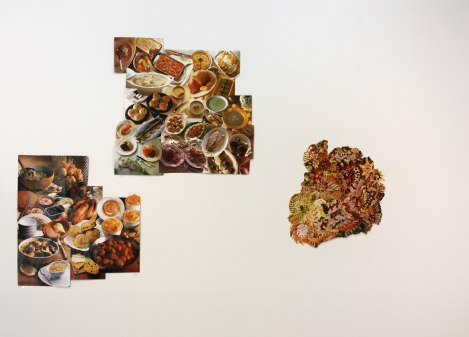 Rustic, Family, and Cold Platter German collages. Install photograph from Between Courses