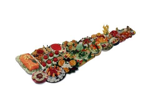 Banquet (table). Cookbook image collage. 70x20cm.