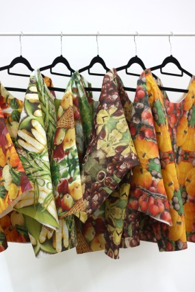 Serviette shirts. 2015. Printed paper Serviettes and glue. One size fits most.