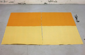 Cheese Sunset. 196 slices of processed cheese (regular and smoked). 110x110cm