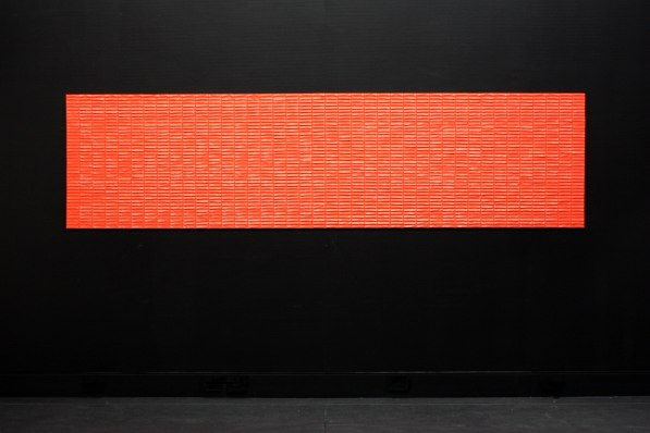 Afternoon pick-me-up (Kinder). 2016. Kinder chocolates in wrappers, glue. 300x80x.5cm