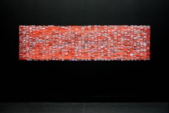 Pick-me-up (Kinder). 2016. Kinder chocolates in wrappers, glue. 300x80x.5cm