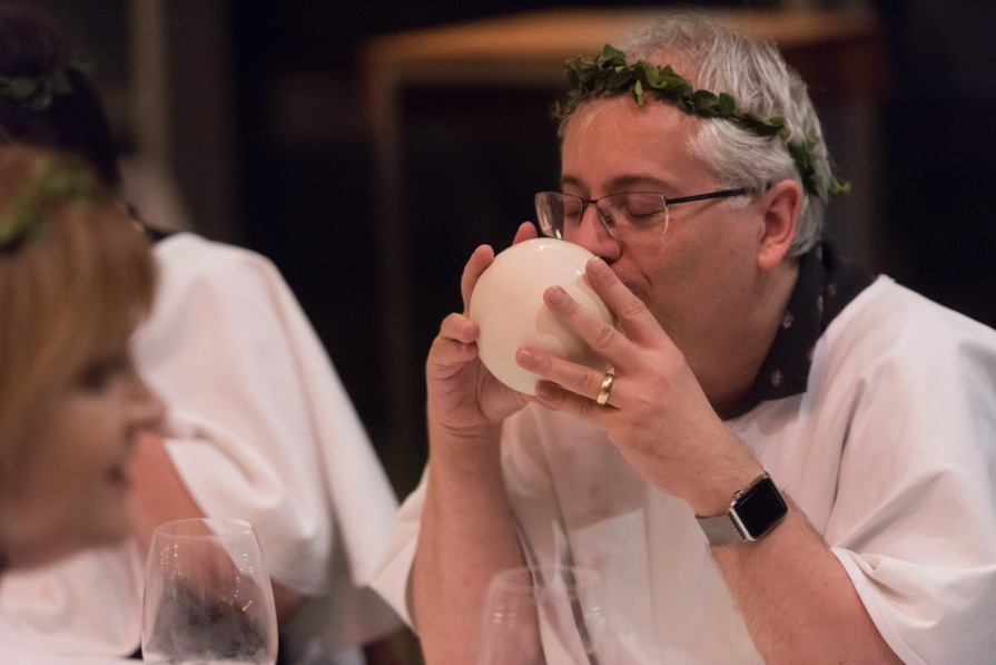 Lip Smakerz: Sparkling strawberry juice in ceramic mouth cup. We Who Eat Together GOMA. Image courtesy Mark Sherwood