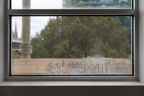 Milk Teeth Nesquik and milk on window. 110x 30 cm Image by Andrew Curtis