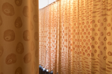 Swollenroots Sweet potato, kipfler potato, and washed potato printed curtains. 110 x 315 cm each Image by Andrew Curtis