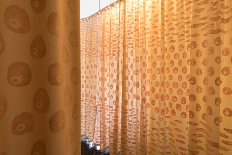 Swollen roots Sweet potato, kipfler potato, and washed potato printed curtains. 110 x 315 cm each Image by Andrew Curtis