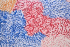 Untitled (orange, red, blue). 2018. Digital print on wallpaper of crayon rubbing. detail