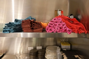 Custom dyed and folded napkins, colour and texture to match each course in the degustation.