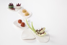 Porcelain perforated plates - snack selection