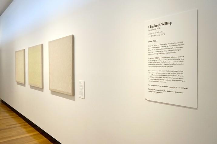Untitled (cheddar, lemon, raspberry). 2020. 95x95cm. Kipfler print with acrylic on linen. Image courtesy of Museum of Brisbane