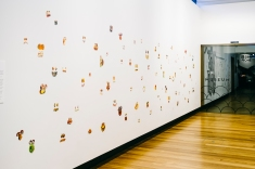 Blank Stares. Collage of cookbook images on gallery wall. Image courtesy of Museum of Brisbane and Charlie Hillhouse